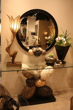 best=Glass top console with an interesting base and round mirror Home Decorating Trends Homedit Fest We Home Entrance Decor, Entryway Decor, Home Room Design, Home Interior Design, Table Decor Living Room, Hallway Decorating, Home Decor Furniture, Mirrors, Clever