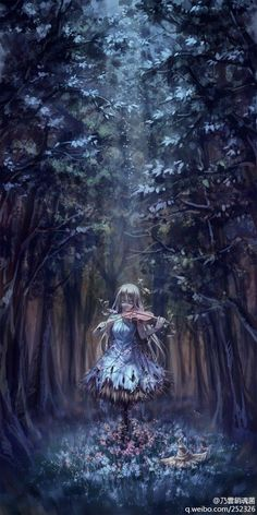 Арт, скрипка,  девушка пугало в лесу.