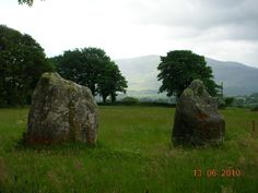 The two outlier stones at the entrance to the Seven Sisters stone circle. Look closely at the stone on the right and you will see The Cailleach stirring her cauldron.