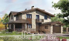 220-001-Л Проект двухэтажного дома с мансардой, гараж, классический коттедж из теплоблока