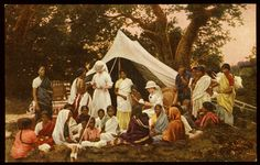 """""""A Doctor's Travelling Tent""""; color postcard ( London: All-British Picture Co., Ltd.; no. 9 in the """"Indian Medical"""" series); 20th century."""