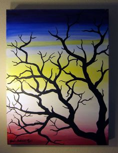 """FOR SALE  Acrylic painting completed early in the year of 2011. I wanted a strong and powerful background, similar to a sunset or sunrise. The image of the tree was created purely from imagination and memory. The title """"Fury"""" was chosen because of an event occurring that time in my life.    24"""" x 18"""" Acrylic on Canvas"""