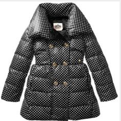 Juicy Couture GIRLS REDUCED Girls size 14 (preteen-teen) juicy couture  black and white puffer down coat. Fitted style just missing one button however I may have the original spare button that came with packaging. Aside from that no flaws. Juicy Couture Jackets & Coats Puffers
