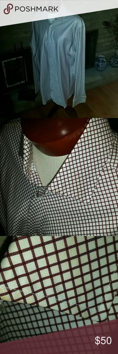 Banana Republic Mens Dress Shirt XL 17/17 1/2 XL Mens Dress Shirt. New with tags.  French cuff button or cuff link ready. Maroon diamond design. Banana Republic Shirts Dress Shirts