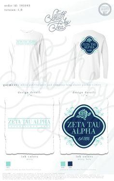 Zeta Tau Alpha   ZTA   Floral T-Shirt Design   South by Sea   Greek Tee Shirts   Greek Tank Tops   Custom Apparel Design   Custom Greek Apparel   Sorority Tee Shirts   Sorority Tanks   Sorority Shirt Designs