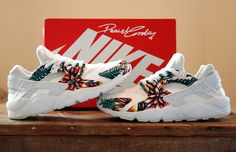 Image of Hand Painted Huarache - Triple White Floral