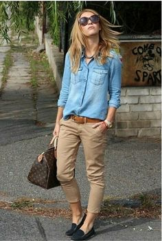 Casual look with denim shirt kakid and flats
