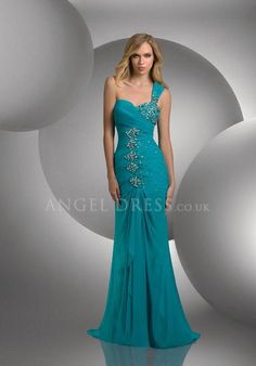 One Shoulder Fit N Flare Chiffon With Beading Floor Length Sleeveless Prom Dress