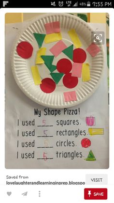 Make a shape pizza to practice shapes! Math for kindergarten Make a shape pizza to practice shapes! Math for kindergarten Preschool Learning, Kindergarten Classroom, Kindergarten Activities, Classroom Activities, Teaching Math, Preschool Activities, Teaching Shapes, Shapes For Kindergarten, Preschool Shapes