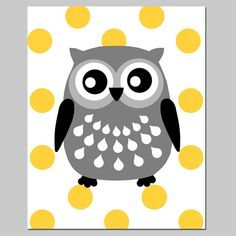 Polka Dot Owl - 8x10 Print - Nursery Art - Choose Your Colors - Shown in Yellow, Gray, and More on Etsy, $20.00