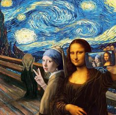 Memes Arte, Art Memes, Arte Pop, Pop Art, Art Du Collage, Arte Van Gogh, Van Gogh Art, Mona Lisa Parody, Photocollage
