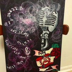 Smoking microphone art abstract