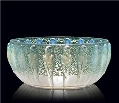 PERRUCHES BOWL, NO. 419 designed 1931, opalescent and green stained, stencilled R. LALIQUE FRANCE, 9 7/8 in. (25 cm.) diameter