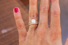 Gorgeous diamond solitaire ring and eternity band set #diamondsolitairering