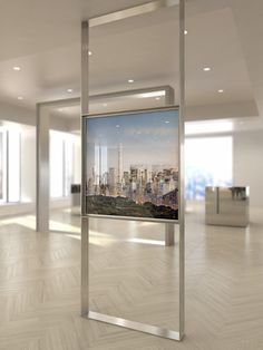 stand alone tv screen in bronze finishes Tv Wall Design, Display Design, 432 Park Avenue, 3d Cinema, Booth, Sales Center, Hanging Posters, Galerie D'art, Exhibition Display