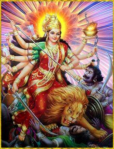 Navratri Puja will help you overcome all your negativities. Flourish with wealth on this Navratri by offering Homam to Lakshmi, Saraswathi & Durga. Maa Durga Photo, Maa Durga Image, Kali Goddess, Indian Goddess, Divine Goddess, Shiva Art, Shiva Shakti, Hindu Art, Shiva Hindu