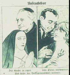 German Anti-Semitic cartoon, Der Stürmer, July 1936 (Issue #20): Unfruitful - She belongs to the church, she belongs to Satan. Both are lost to the German race.