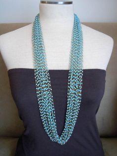 Falling Rain -- Turquoise Seed Beads