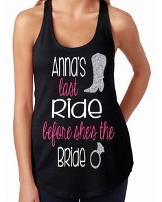 Last ride before she's the Bride tank // Bride to be tank // Miss to Mrs // Bachelorette party tanks // Bride racerbacks by GraceGritsandGlitter on Etsy