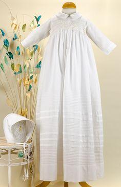 Pretty Originals Style D7630 White Cotton Smocked Christening Gown & Bonnet
