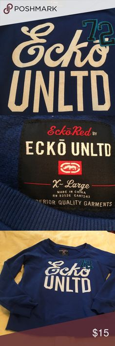 Bright blue sweatshirt Beautiful blue very nice graphics excellent condition and a touch of sparkle Ecko Unlimited Tops Sweatshirts & Hoodies