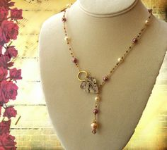 "Golden Leaf Necklace ""Raspberries and Champagne""  by TimeMachineJewelry"