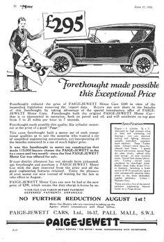 Paige-Jewett Motor Car Autocar Advert 1924