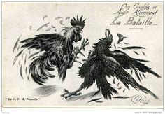 Coq Gaulois et Aigle Allemand, La Bataille, Ch. Renaud, 1914 Delcampe.net