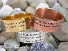 """Emily Dickinson Poem - Hope Is The Thing With Feathers That Perches In The Soul...This cuff is perfect for anyone who loves poetry.  It is hand stamped with the first verse of Emily Dickinson's Poem Hope is the thing with feathers. It says """"'Hope"""" is the thing with feathers - that perches in the soul - and sings the song without the words - and never stops - at all - Emily Dickinson"""""""