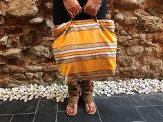 Bolsa, Bolso, Bag, en tela de colchon antiguo adamascada