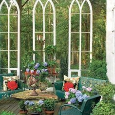 Salvaged windows that create a little outdoor sanctuary