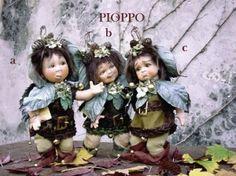 Pioppo, bambola in porcellana, Fate Folletti di Porcellana - Folletti elfi in porcellana - Bambola in porcellana di bisquit. Altezza: 26 cm. Collezione Montedragone.