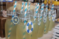 sailor centerpieces for baby shower | Drinks at a Nautical Party #nautical #partydrinks