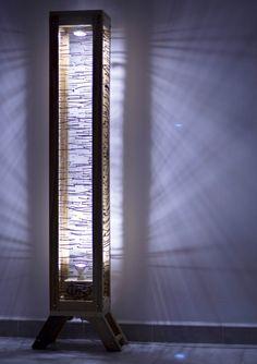 """Lámpara de pie EPAL / """"EPAL"""" floor lamp in pallets 2 lights with pallet Nails Metal Light Lamp floor"""