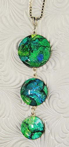 Kristie Foss Creations - crackle effect using polymer, composite gold and silver leaf, and alcohol inks. Beautiful!