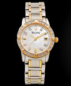 Bulova Women's Diamond Accent Two Tone Stainless Steel Bracelet Watch 26mm 98R107
