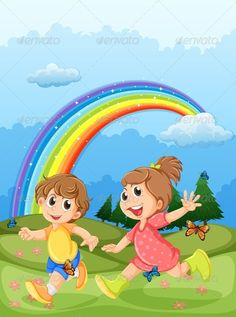 Buy Kids Playing at the Hilltop with a Rainbow by interactimages on GraphicRiver. Illustration of the kids playing at the hilltop with a rainbow in the sky Cartoon Wall, Cartoon Pics, Art Drawings For Kids, Drawing For Kids, Kids Background, Rainbow Background, Audio Books For Kids, Kindergarten Interior, Funny Emoji Faces