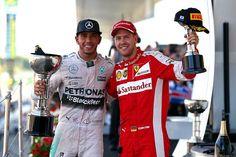 Sebastian Vettel & Lewis Hamilton on the Podium at the 2015 #F1 Japanese Grand Prix @ Suzuka