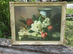 """FREE SHIP Antique Look Ornate Creamy Gold Gesso Whitewash Designs Framed Cabbage Roses Print Fancy Picture Frame, Vernon Ward,  20"""" x 25"""" by treasuretrovemarket on Etsy"""