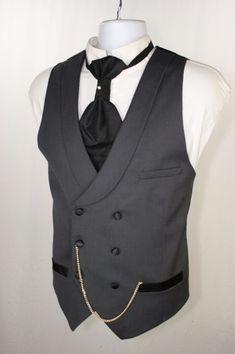 Grim Undertaker H&M Gray Tux Double Breast Vest Men 42 Steampunk Cowboy SASS 012