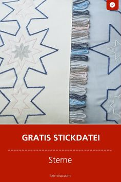 Sterne gratis Stickmuster Freebie Embroidery Patterns, Machine Embroidery, Handmade, Inspiration, Stars, Bruges Lace, Appliques, Tutorials, Creative