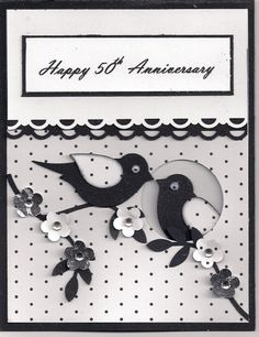 handmade card: 50th Anniversary by bmbfield  ... black and white ... luv the way one bire is peeking out of a knot hole with the ohter perched on a branch outside ... wonderful card ... Stampin' Up!