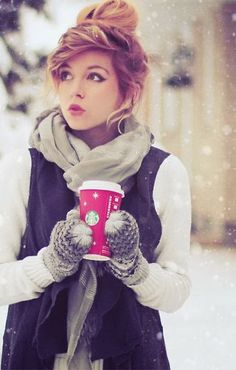 Cute fluffy outfit with hair bun for winter fashion