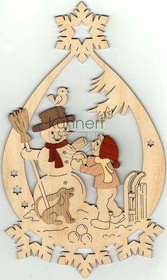 Drechslerei Kuhnert Fensterbild Winterkinder mit Schneemann