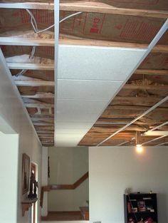 Ceiling insulation will help with noise. Easy to install and flush mount. Lots cheaper than Ceilingmax from Lowes. Basement Laundry, Basement House, Basement Apartment, Basement Plans, Basement Bedrooms, Basement Renovations, Home Renovation, Home Remodeling, Basement Ideas