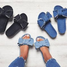 Buy Women Bow Sandals Fashion Casual Slippers Sandals Beach Shoes at Wish - Shopping Made Fun Step up your shoe with the use of contemporary Platform Shoes! From chunky hunk ft to higher block high heel to chill platform sandals platform shoes sandals MCC Diy Jeans, Recycle Jeans, Upcycle, Denim Sandals, Bow Sandals, Jean Sandals, Denim Fashion, Fashion Shoes, Fashion Slippers