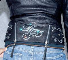 Harley Davidson Women's Krystle Leather Jacket w/Silver Fox Fur collar