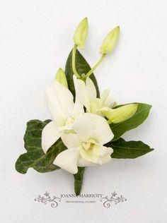 White Singapore orchid buttonhole