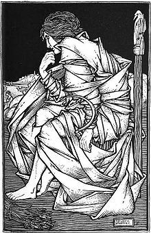 Seated on Odin's throne Hliðskjálf, the god Freyr sits in contemplation in an illustration (1908) by Frederic Lawrence.
