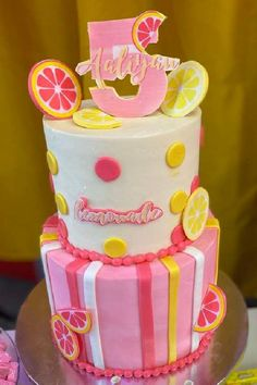 Take a look at this sweet pink lemonade birthday party! The cake is gorgeous!  See more party ideas and share yours at CatchMyParty.com  #catchmyparty #partyideas #lemonade #lemonadeparty #girlbirthdayparty #pinklemonade #cake